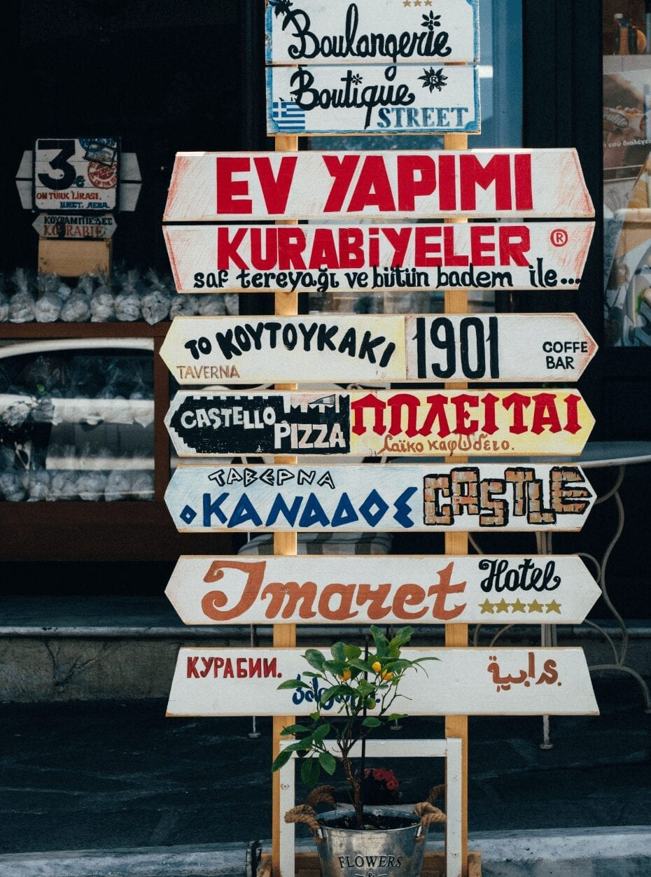 A sign with different language