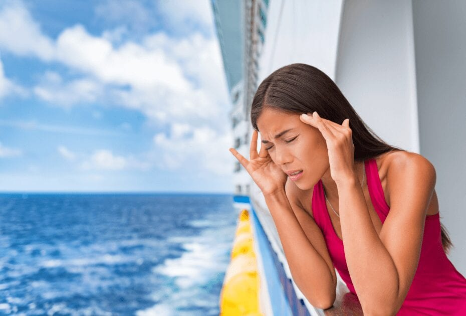 A tourist experiencing Sea sickness on cruise ship