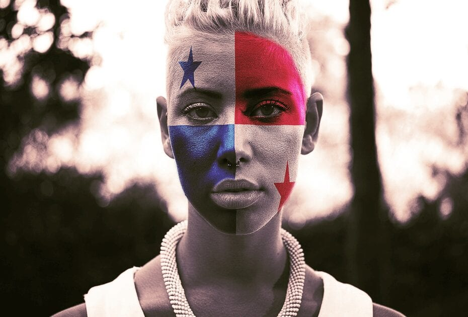 Woman with flag of Panama painted on her face
