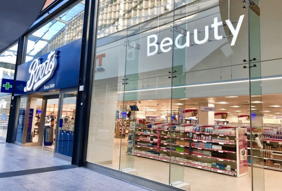 A branch of Boots. an international pharmacy-led health and beauty group
