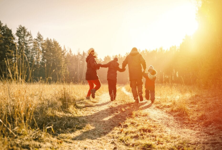 A family walking on a country road