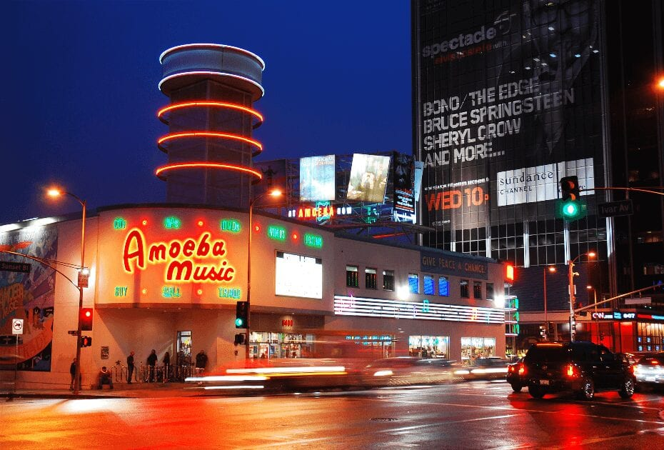 Amoeba Music store is an iconic store near Hollywood in Los Angeles, California