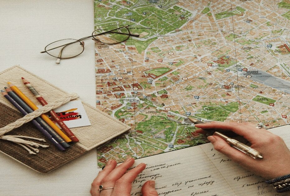 Map and agenda to calcul the budget before traveling