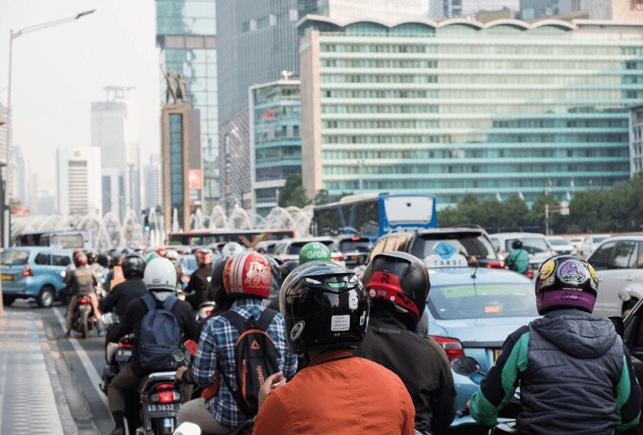 The thousands of motorbikes and scooters create high levels of pollution, especially within city centres.