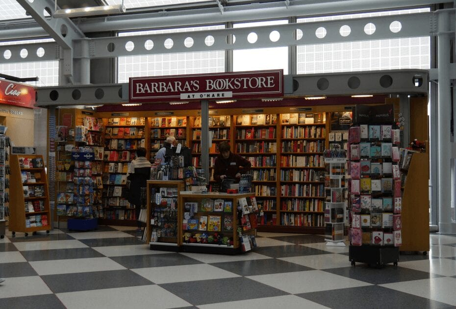 passengers browse for reading materials at a bookstore inside the Terminal 1 of O'Hare International Airport.